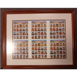Framed Limited Edition Uncut Sheet of  Legends of the West  stamps. MINT COND