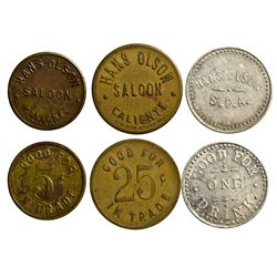 Hans Olson Saloon Tokens, NV - Caliente,Lincoln County