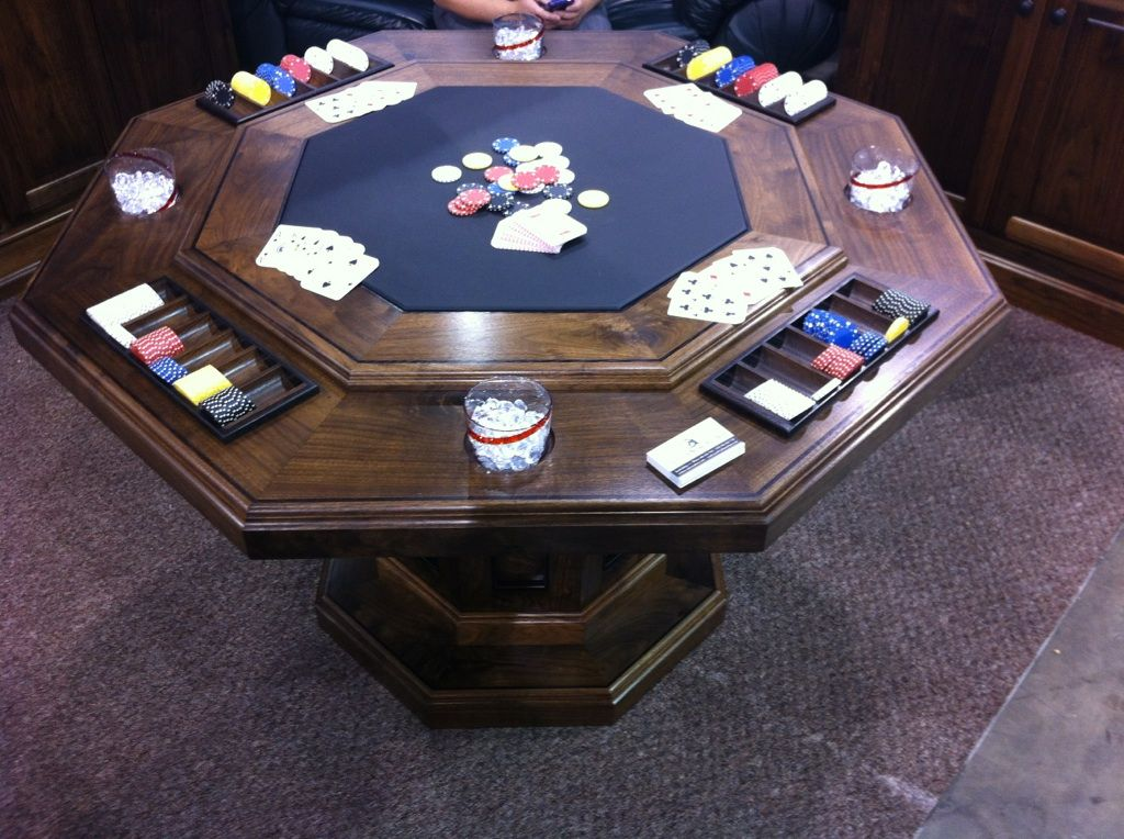 Solid Walnut Poker Table (octagonal Shape). Loading Zoom