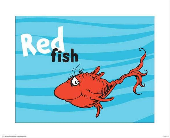 4 dr seuss prints 1 fish 2 fish red fish blue fish