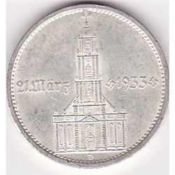 Germany 5 reichsmark 1934, Potsdam Church with date