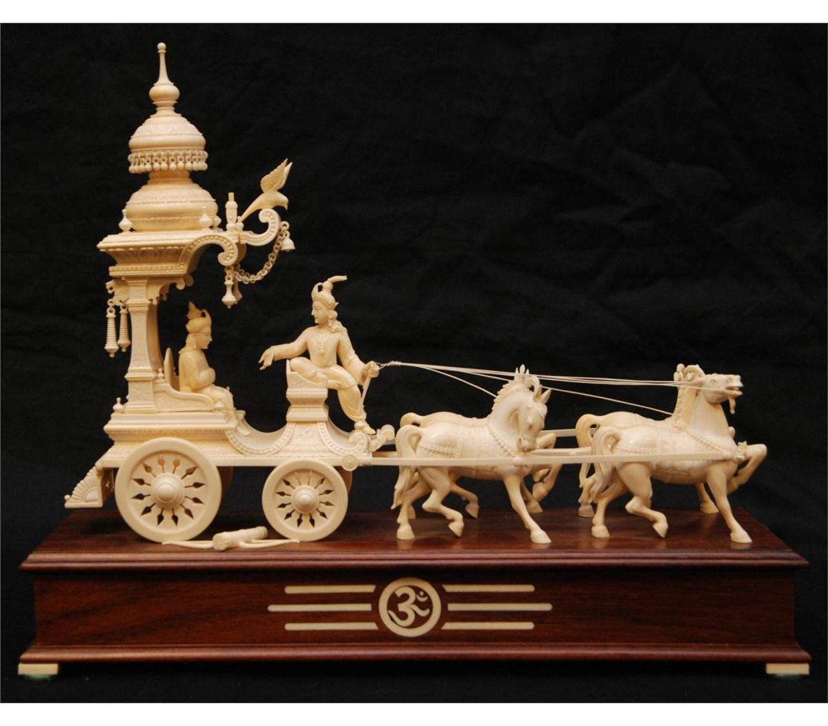indian carved ivory chariot on inlay base. Black Bedroom Furniture Sets. Home Design Ideas
