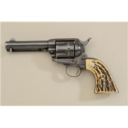 "Colt SAA revolver, .45 cal., 4-3/4"" barrel,  blue finish, faux stag grips, #255469. This  gun is in"
