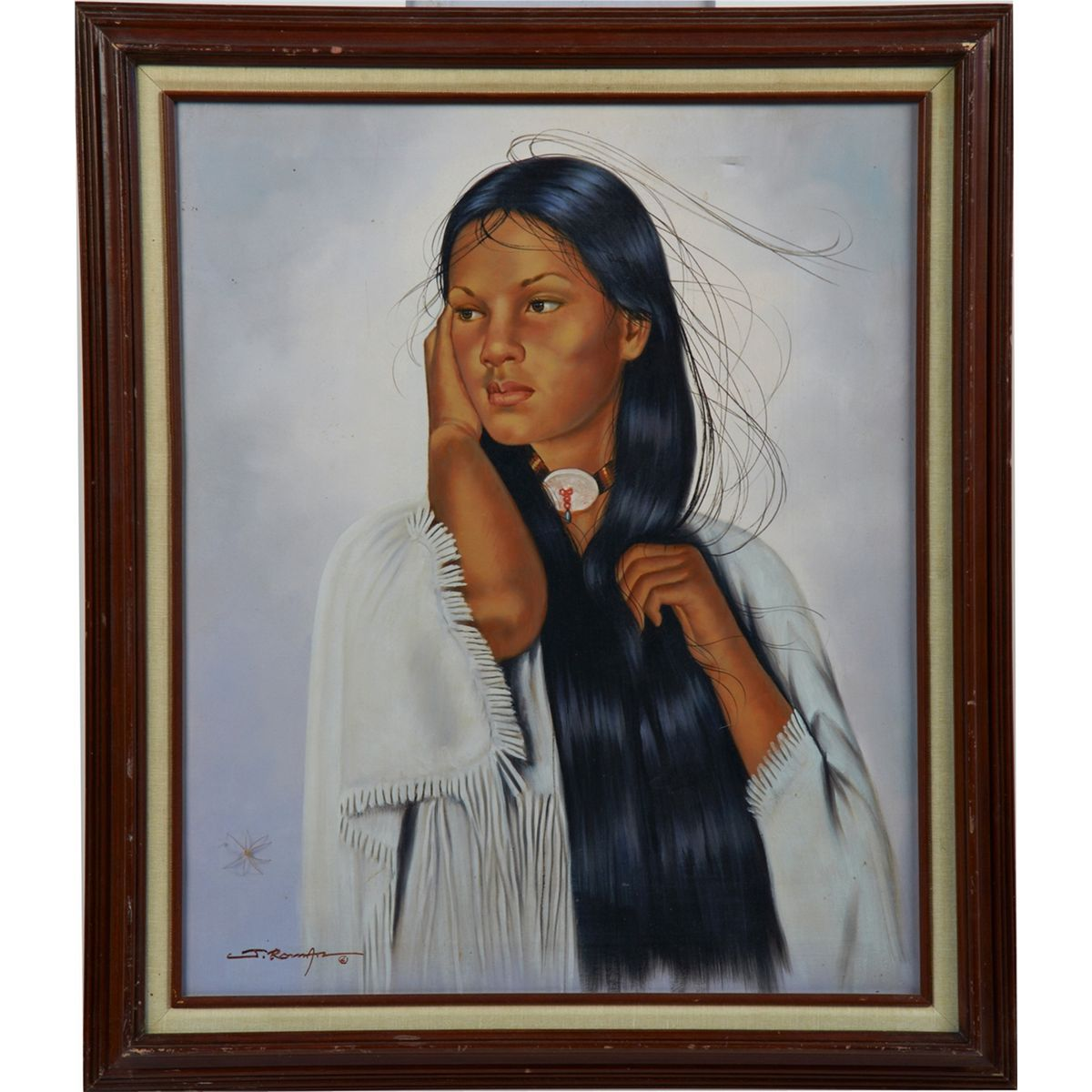 Authoritative Very young native american girl think