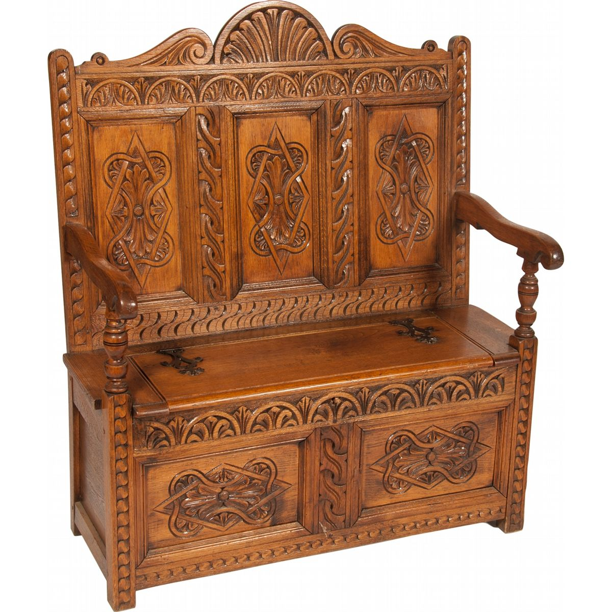 Ornate carved wood victorian prayer bench for Victorian woodwork