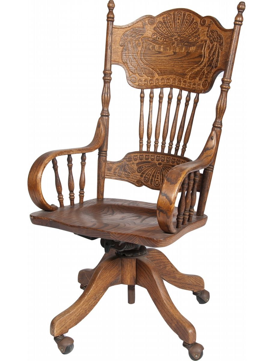 Merveilleux Image 1 : Ornate Carved Wood Desk Chair On Wheels W/ Armrests Fea