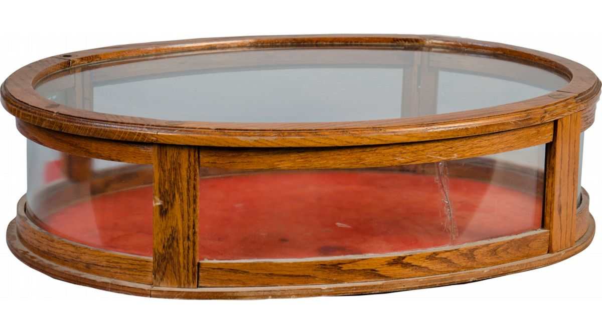 Oval Glass And Wood Countertop Display Case w/ Red