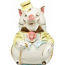 Brush Pottery Formal Pig Ceramic Cookie Jar
