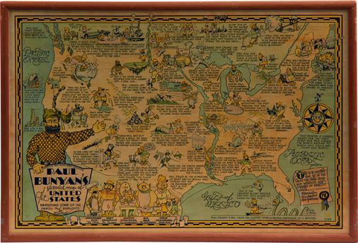 Paul Bunyans Pictorial Map Of The United States - Paul bunyan in us map
