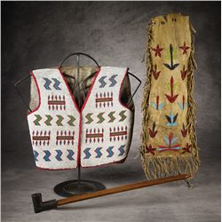 Blackfeet Beaded Pipe Bag, Vest & Pipe