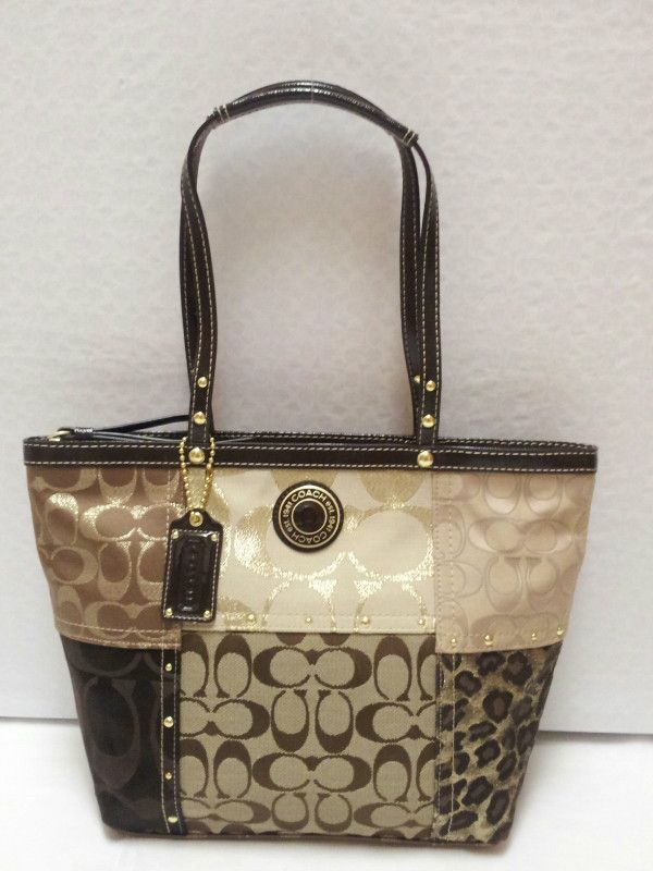 ... signature shoulder bag Lady s beige x gold x silver x multi canvas x  leather x Harako Source · COACH Patchwork Tote Brown colors New with tags  F20075 B4 ... 55a9bd3b02b9c