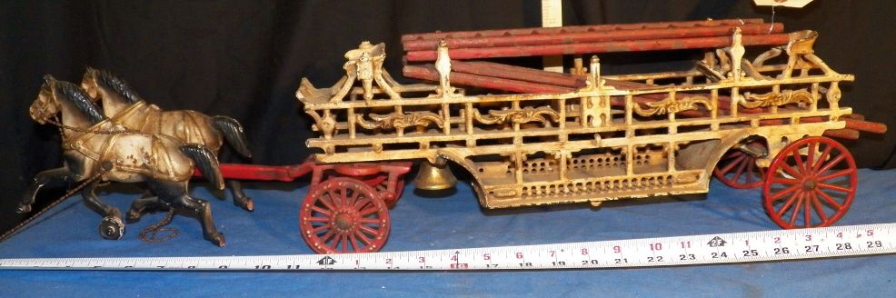 Vintage Cast Iron Fire Wagon Amp Horses Horse Drawn Fire