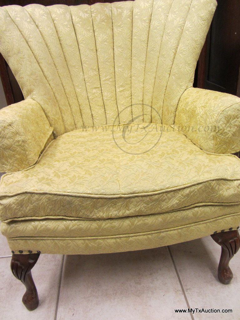 Antique queen anne wingback chair - Wing Back Chair W Channel Back W Queen Ann Legs Gold Upholstered 50