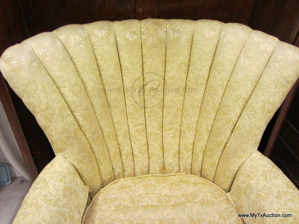 ... Image 3 : VINTAGE: Wing Back Chair W/Channel Back W/ Queen Ann ...