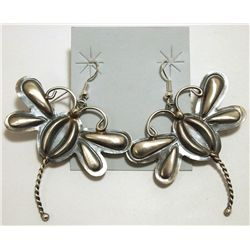 Navajo Sterling Silver Dragonfly French Hook Earrings - Tim Yazzie