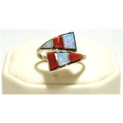 Zuni Coral & Opal Inlay Sterling Silver Adjustable Women's Ring - Cena Woobthee