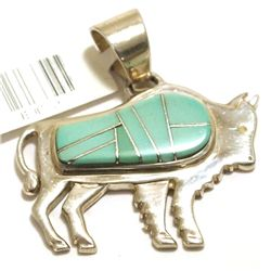Navajo Turquoise Inlay Sterling Silver Buffalo Pendant - Calvin Begay