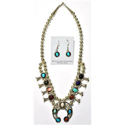 Navajo Multi-Stone Small Necklace & Earrings Set - Phil & Lenore Garcia