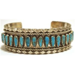 Old Pawn Navajo Turquoise Sterling Silver Cuff Bracelet - Tommy Lowe