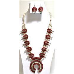 Navajo Coral Squash Blossom Sterling Silver Necklace & Earrings Set - Lisa Williams