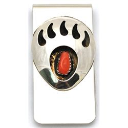 Navajo Coral Sterling Silver Bear Paw Money Clip - Joey McCray