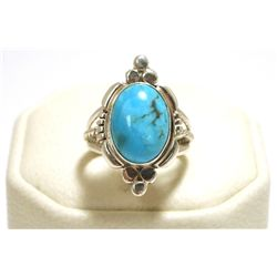 Navajo Turquoise Sterling Silver Women's Ring - Marie Bahe