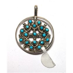 Zuni Coral and Turquoise Spinner Pendant