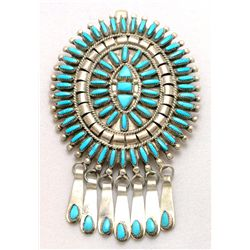 Zuni Turquoise Oval with 7 Hangers Pendant & Pin