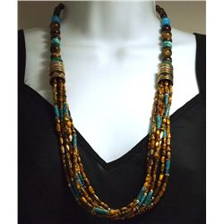 Navajo Turquoise & Tiger's Eye 7-Strand Necklace - Tommy Singer