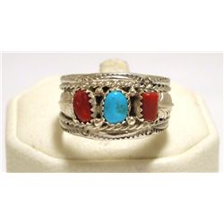 Navajo Coral & Turquoise Sterling Silver Men's Ring - Betty Begaye