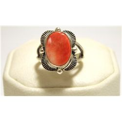 Navajo Orange Spiny Oyster Sterling Silver Women's Ring - Mary Ann Spencer