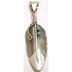 Navajo Turquoise Sterling Silver Feather Pendant - Chris Charley