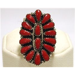 Navajo Coral Cluster Sterling Silver Women's Ring - Juliana Williams