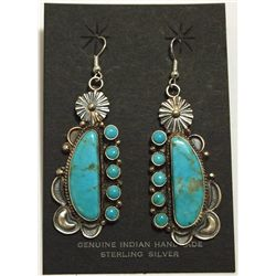 Navajo Turquoise Sterling Silver French Hook Earrings - Dean Brown