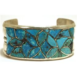 Vintage Old Pawn Zuni Turquoise Inlay Sterling Silver Cuff Bracelet - ALH