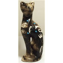 Navajo Turquoise Cat Horsehair Pottery - Tom Vail, Jr.