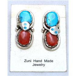 Zuni Coral and Turquoise Large Snake Earrings - Effie Calavaza