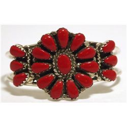 Navajo Coral Sterling Silver BABY Cuff Bracelet - Lisa Williams