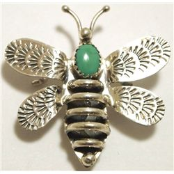 Navajo Turquoise Sterling Silver Bumblebee Pin - Tim Yazzie