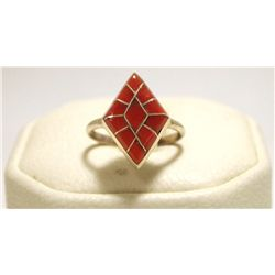 Zuni Coral Inlay Sterling Silver Women's Ring - Connie Epaloose