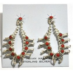 Navajo Coral Sterling Silver Squash Blossom Post Earrings - Larry Curley
