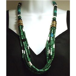 Navajo Malachite & Multi-Stone 7-Strand Necklace - Tommy Singer