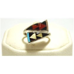 Zuni Multi-Stone Inlay Sterling Silver Adjustable Women's Ring - Cena Woobthee