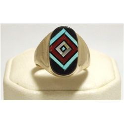 Zuni Multi-Stone Inlay Sterling Silver Men's Ring - V Vacit