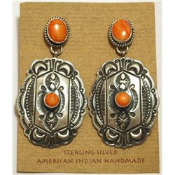 Old Pawn Navajo Orange Spiny Oyster Sterling Silver Post Earrings