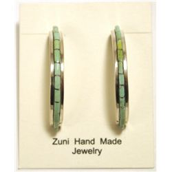Zuni Light Turquoise Inlay Sterling Silver Half-Ring Post Earrings - Susan Kalestewa