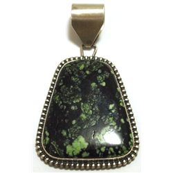 Old Pawn Navajo Green / Black Turquoise Matrix Sterling Silver Pendant - Kirk Smith