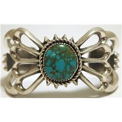 Old Pawn Navajo Spider Web Turquoise Sterling Silver Cuff Bracelet - WBH