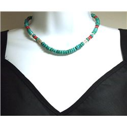 Navajo Turquoise & Coral Necklace - Tommy Singer