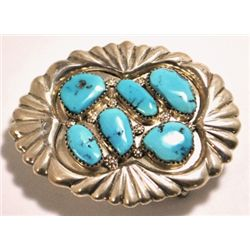 Zuni Turquoise Sterling Silver Buckle - George & Lupeta Leekity